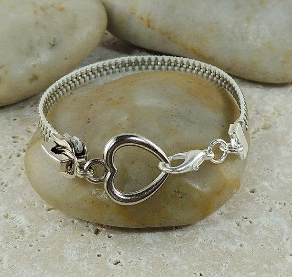 Zipper Bracelet White and Silver with Heart by JustKJewellery, £12.00