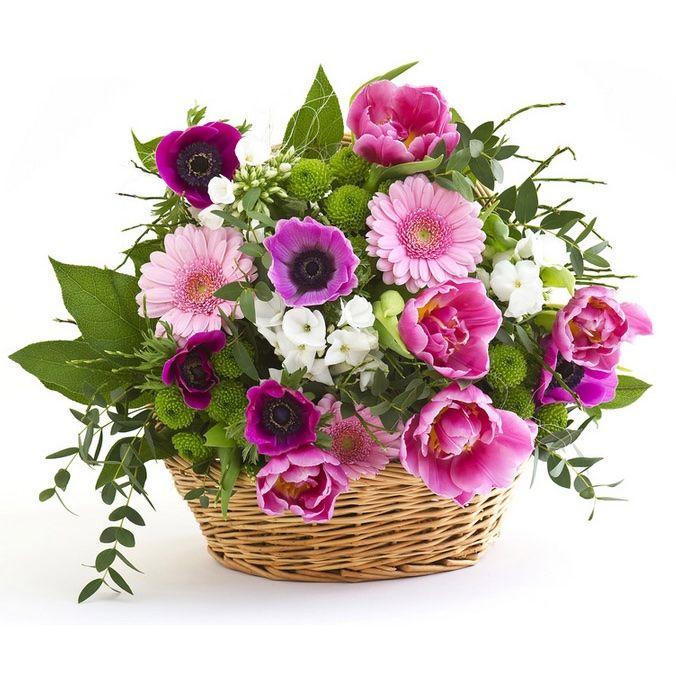 cesto di roselline e fiori misti