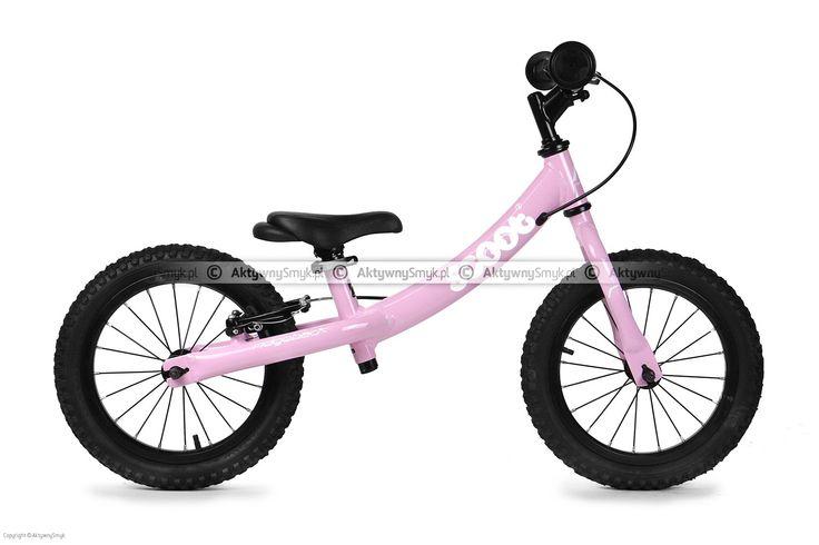 Duży różowy rowerek biegowy Ridgeback Scoot XL posiada regulację siodełka od ok. 39-55 cm, regulację wysokości kierownicy, kierownica bez blokady skrętu, pompowane opony 14 cali, hamulec tylnego koła typu v-brake.