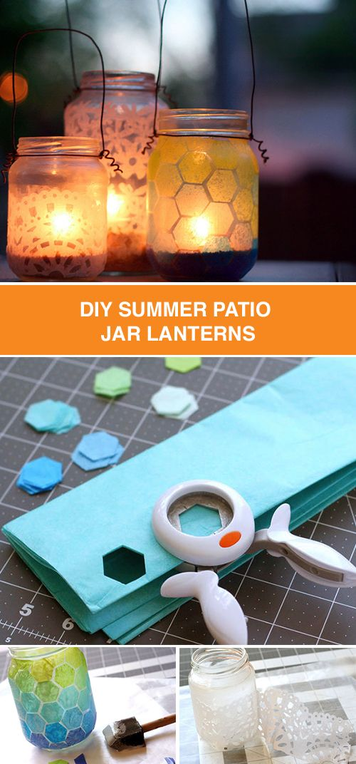 Decorate for your summer party with DIY patio jar lanterns. This step-by-step guide shows how to turn a basic mason jar and candle into a glowing centerpiece.