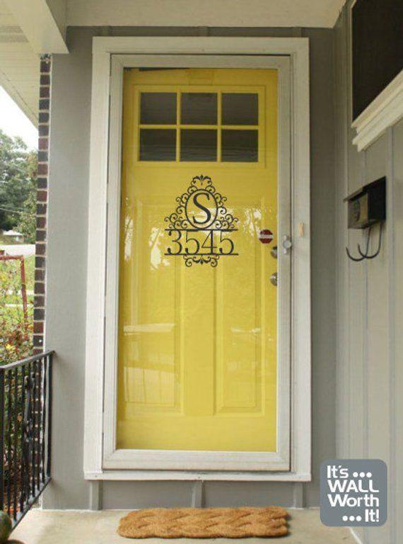Address With Family Initial Vinyl Door Decal Door Decal Vinyl Door Decal Yellow Front Doors Vinyl Doors
