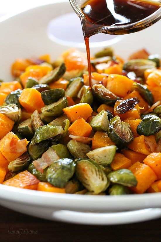 Maple Soy Glazed Roasted Brussels Sprouts and Butternut Squash with Bacon | Skin…   – food