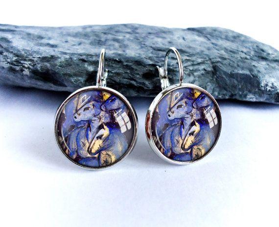 Blue Horses dangle earrings, blue picture drop earrings, Franz Marc painting, art photo earrings, image glass cabochon earrings,gift for her