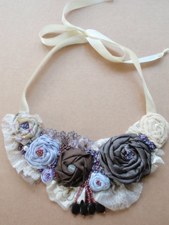 Handmade statement necklace. Embroidered by HandmadebyDorothea