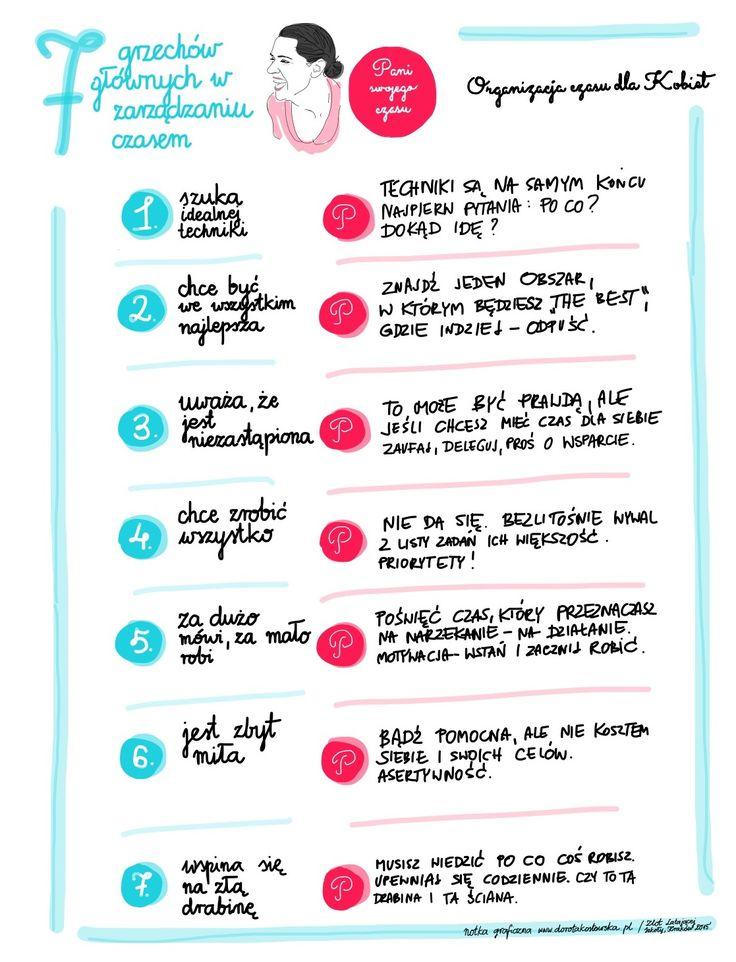 7 grzechów głównych Pani Swojego Czasu to artykuł o tym, czego nie należy robić w kobiecym zarządzaniu czasem