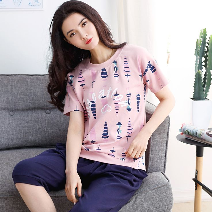 2017 New Cotton Women Pajama Sets Short Sleeved O-Neck Comfortable Sleepwear Cute Cartoon Images Pyjamas Women Home Clothing