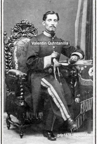 Valentin Quintanilla, Comandante del Batallón Granaderos del Cuzco N° 19.  Tomado del blog de Jonatan Saona http://gdp1879.blogspot.com/2014/05/parte-de-v-quintanilla.html#ixzz4ksKHsYJH