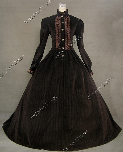 Lovely brown winter Steampunk day dress