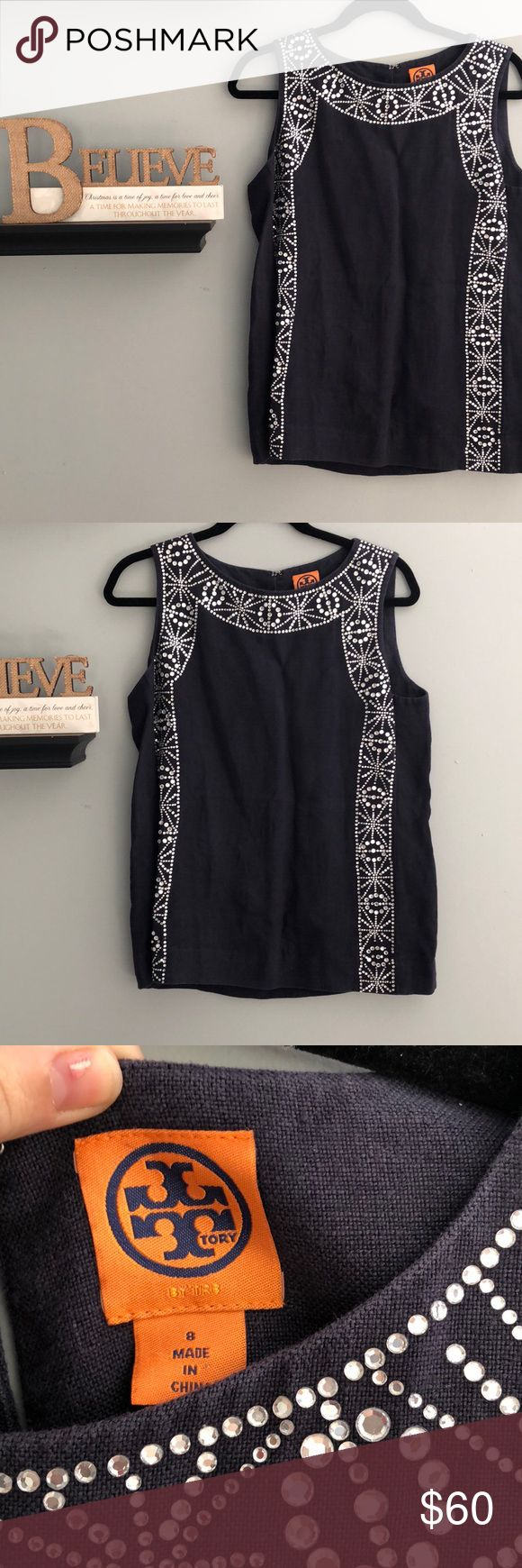 Tory Burch Linen Jeweled Blouse Beautiful Blouse with jewels through out the top.  90% of the jewels are in-tacked  100% Linen Tory Burch Tops