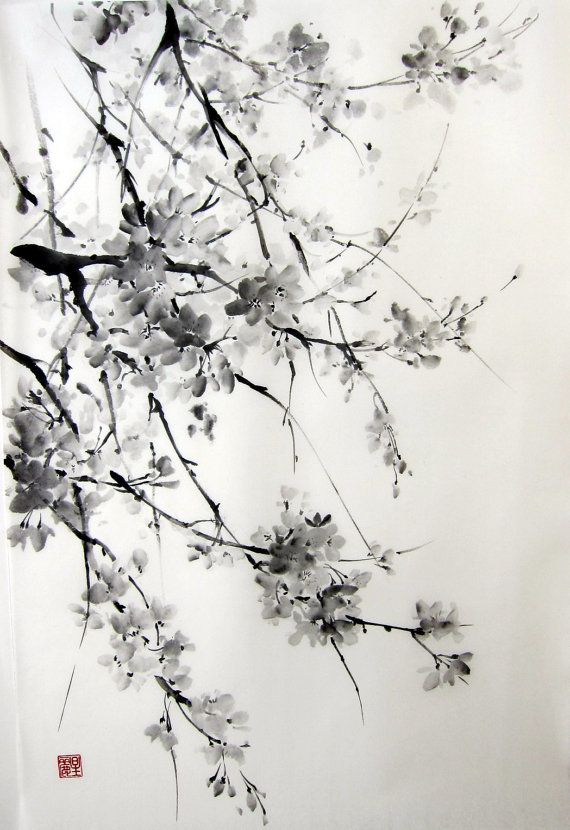 Sakura Japanese Ink Painting on Rice Paper 17x26 by Suibokuga, €58.00