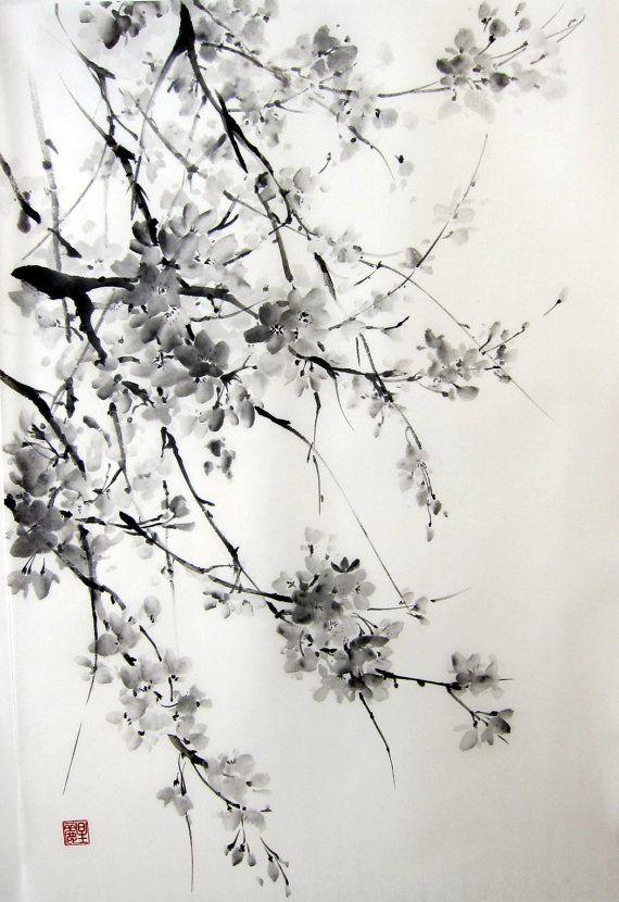 Sakura Japanese Ink Painting on Rice Paper 17x26 by Suibokuga on Etsy, €58.00