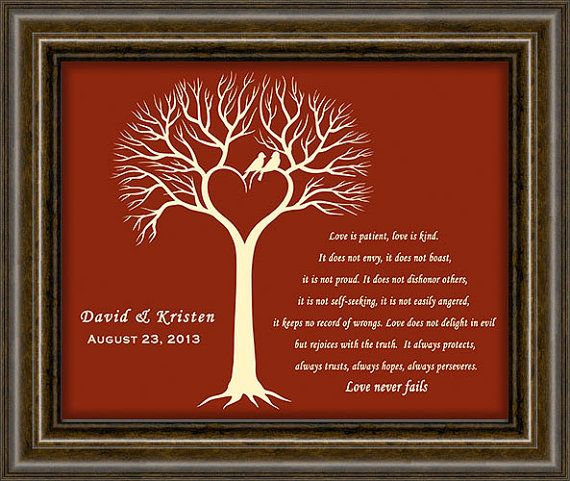 Ruby Anniversary Gift Wedding Tree Print 40th