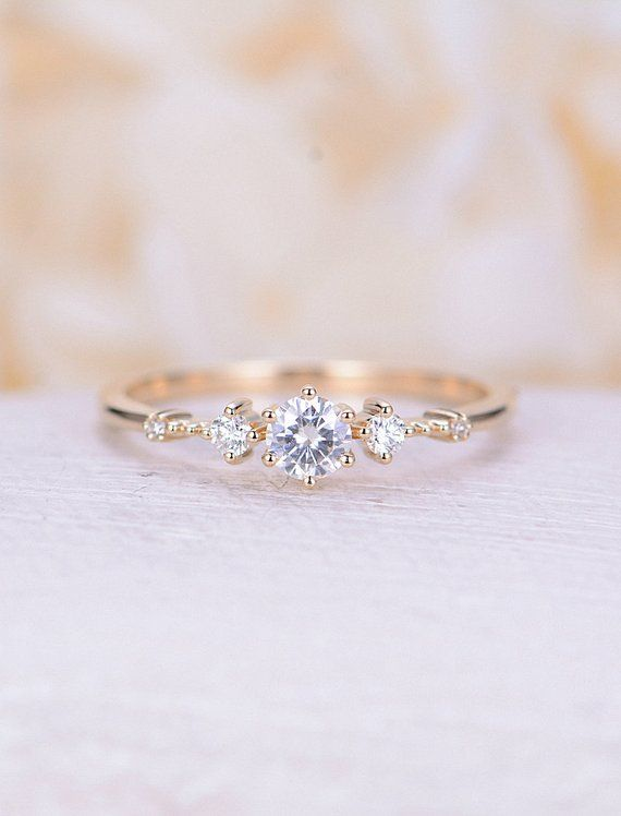 Unique engagement ring yellow gold Moissanite engagement ring Vintage women diamond cluster ring wedding Promise Anniversary gift for her