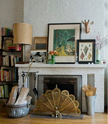 Eclectic Fireplace Mantle info with great tips on how to design it too.