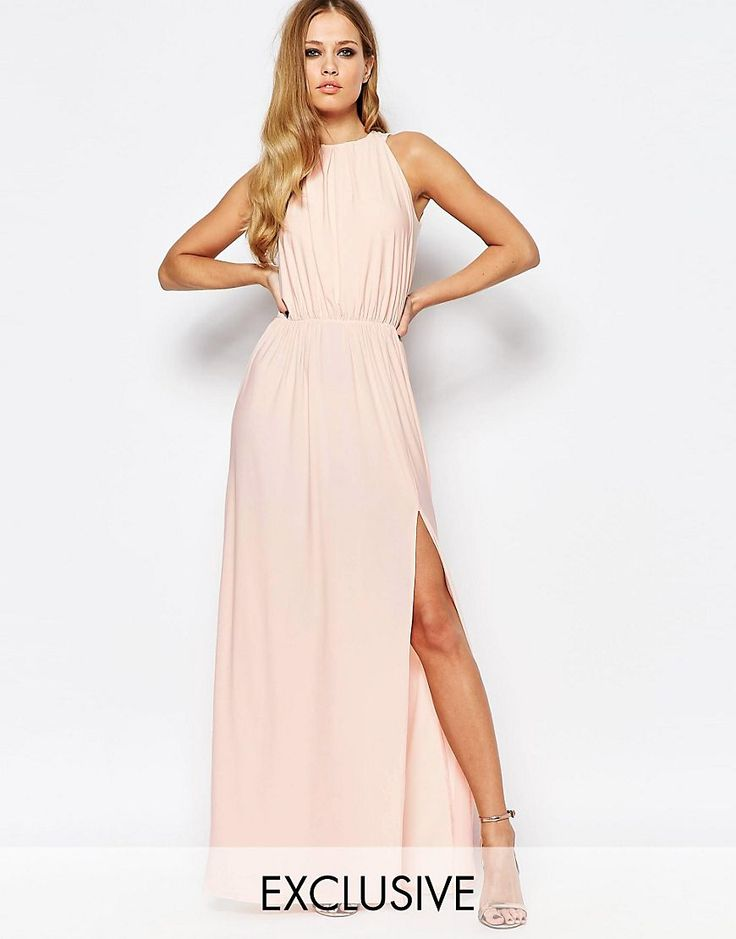 Image 1 of Love High Neck Cowl Back Draped Maxi Dress
