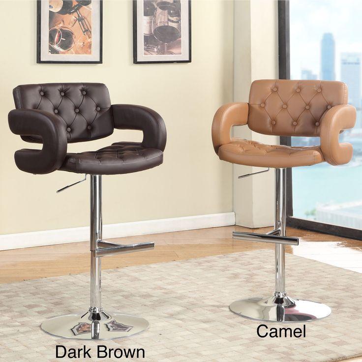 Furniture Of America Vardara Tufted Height Adjustable Swivel Bar Stool By  Furniture Of America