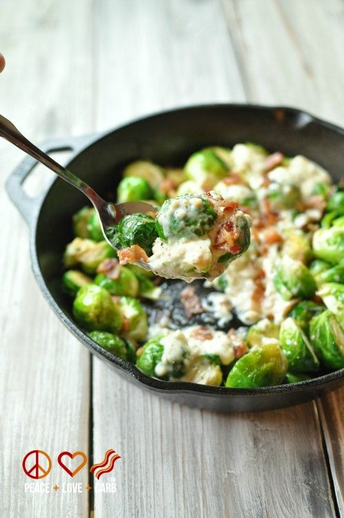 Skillet Roasted Bacon Brussels Sprouts with Parmesan Cream Sauce Shared on https://www.facebook.com/LowCarbZen   #LowCarb #Veggies #Sides