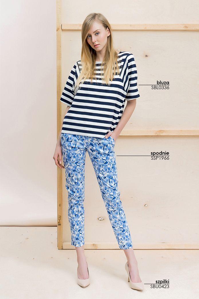 #Spodnie w #kwiaty i krótka bluza w paski #topsecret