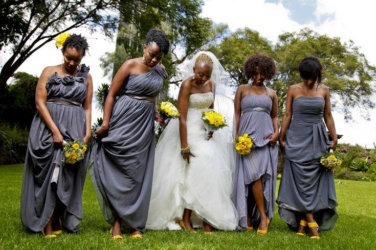 Grey and yellow wedding theme(brides maids dresses)