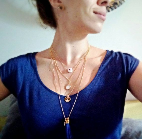 Layered Necklace  set of 4 pendants in different heights by bizeli
