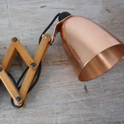 Vintage Maclamp wall light in copper with extendable wooden arms  Designed by Terence Conran for habitat 1960s www.lovelyandco.co.uk