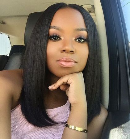 Middle part bob hairstyles human hair wigs for black women bob haircuts