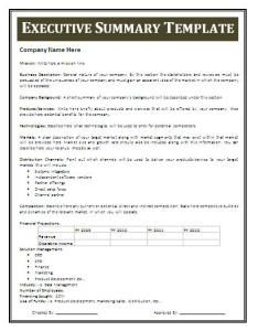 Executive Summary Template  Best Executive Summary