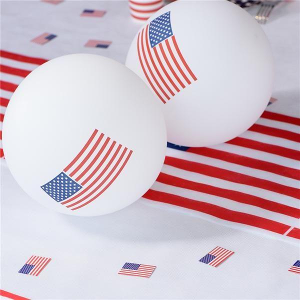 Globos decorados con la bandera de Estados Unidos para tu fiesta!
