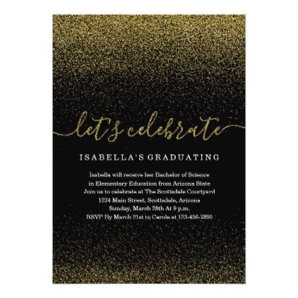 Gold Glitter Graduation Invitation - graduation party invitations cards custom invitation card design party