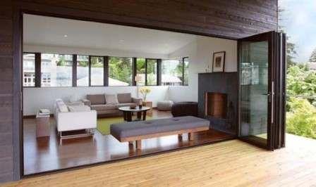 60 model ruang tamu terbuka minimalis modern - memiliki