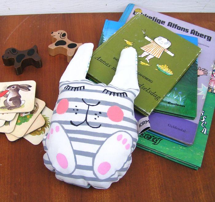 Soft toy Betty rabbit with rattle insert Oeko tex cotton, danish design www.normadot.com www.normadot.etsy.com