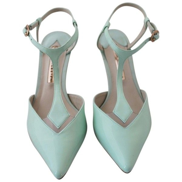 Pre-owned Sophia Webster Mint Pumps ($172) ❤ liked on Polyvore featuring shoes, pumps, mint, sophia webster pumps, sophia webster, pre owned shoes, mint high heel shoes and patent leather pumps