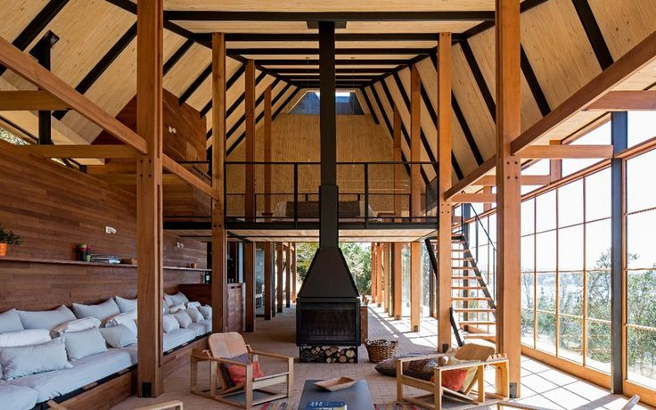 Living chimenea casa caba%c3%b1a madera vista lago panguipulli abestudio