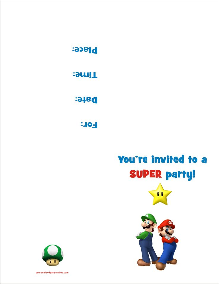 Super Mario Bros FREE Printable Birthday Party Invitation Personalized Party…