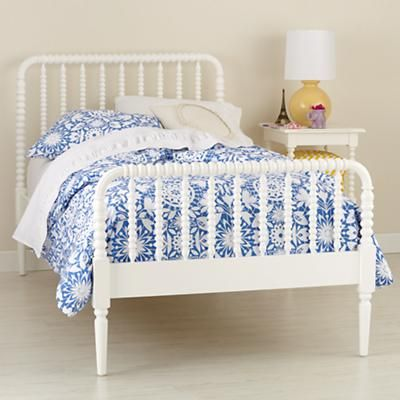 Land of Nod's Jenny Lind Bed. Nora's crib is a Jenny Lind crib, so this will match her furniture when she needs it in a few years:) Like in azure blue too.