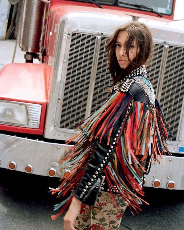 Fringe that! Photo: @PeterAshLee Style : #OlgaDunina/ Кожа в которой я живу: в этом сезоне выбирайте байкерские куртки с заклёпками молниями и цветной бахромой и отравляйтесь в дорожное путешествие. Вдохновение вы найдёте в июльском Vogue!  via VOGUE RUSSIA MAGAZINE OFFICIAL INSTAGRAM - Fashion Campaigns  Haute Couture  Advertising  Editorial Photography  Magazine Cover Designs  Supermodels  Runway Models