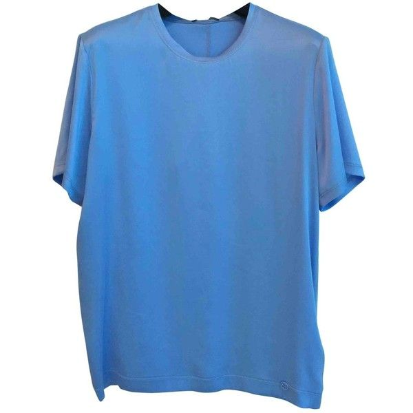 Pre-owned Gucci Silk T-Shirt ($274) ❤ liked on Polyvore featuring tops, t-shirts, blue, women clothing tops, gucci t shirt, oversized tees, oversized t shirt, fancy top and silk tee