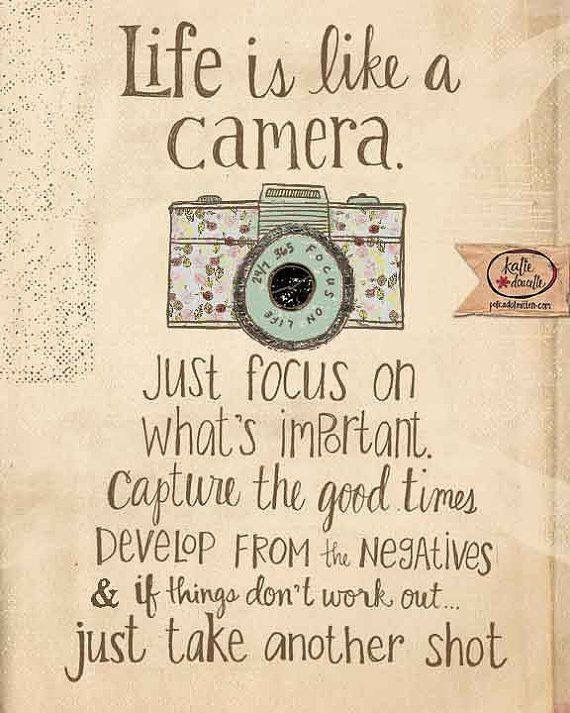 Life is like a camera.  As a photographer by training, I love this.