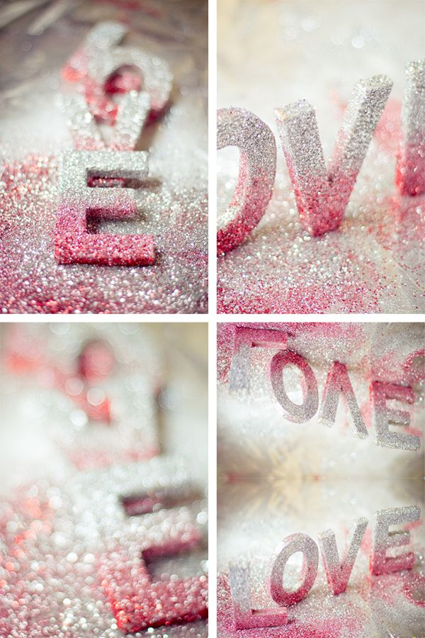 Awesome ombré glittered letters. Could set these on a shelf or hang them on the wall, so cute