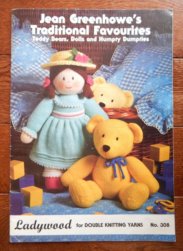 Soft Toy Knitting Pattern by Jean Greenhowe's Traditional Favorites/ Basic Doll Measures 15 Inch/Teddy Bears, Dolls, Humpty Dumpties, Clowns by RedWickerBasket on Etsy