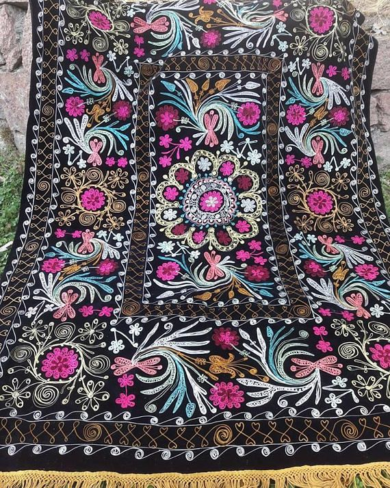 Uzbek vintage silk velvet embroidery suzani.Tablecloth Wall