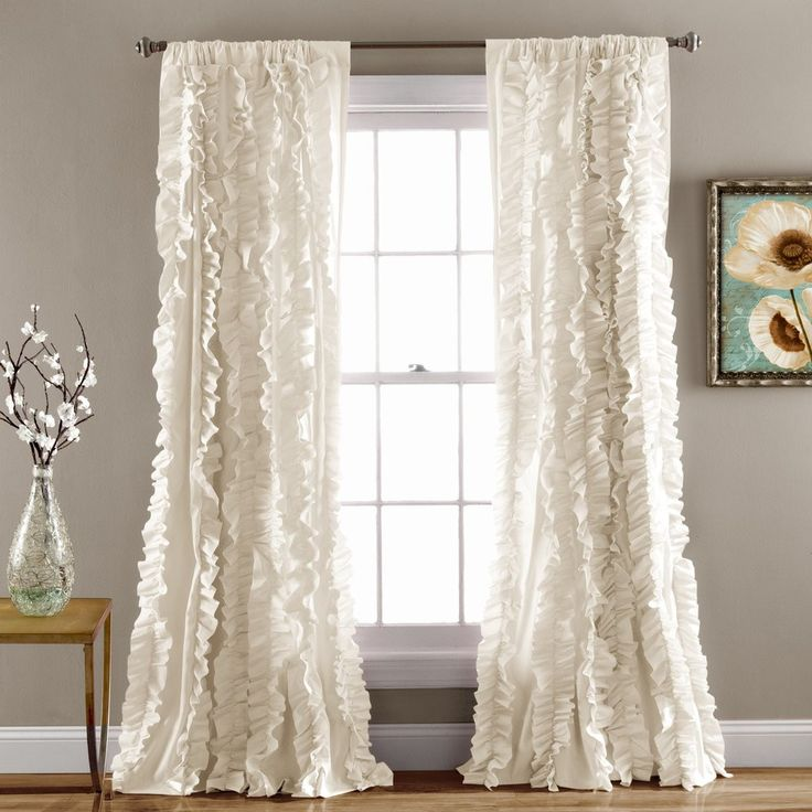 Flowing hand crafted vertical ruffles turn the ordinary into a beautiful window. The fabric is so soft and lays down beautifully from top to bottom. Matching Comforter Set or Quilt Set Available. - In