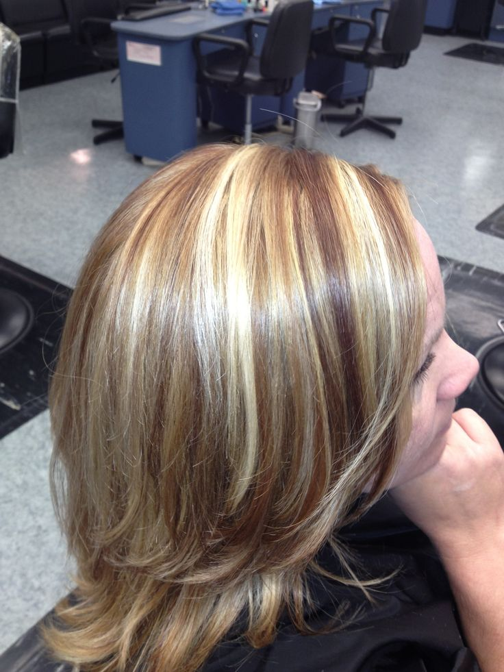 Chunky Highlights With Brown Red Lowlights Chunky Blonde