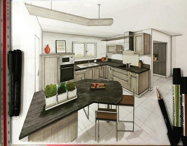 """✏️✏️✏️ #draw #sketch #dessin #handsketch #kitchen #cuisine #design #architecture #architecturestudent #promarker @arquitetapage @arquisemteta…"""