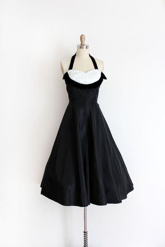 vintage 1950s prom dress // 50s black & sequin by TrunkofDresses