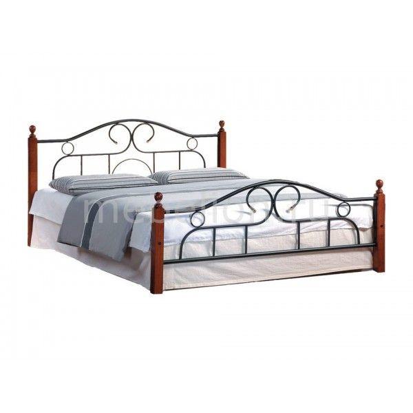 Кровать двуспальная 808 1.8 красное дерево, черный - мебель в СПб