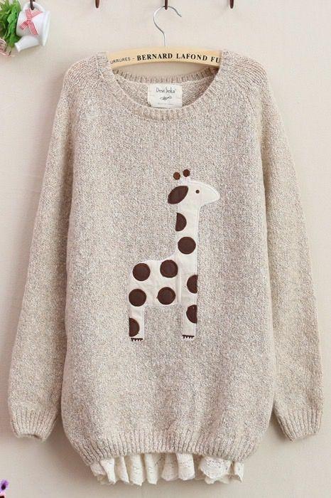Cute Beige Giraffe Pattern Lace Hem Sweater