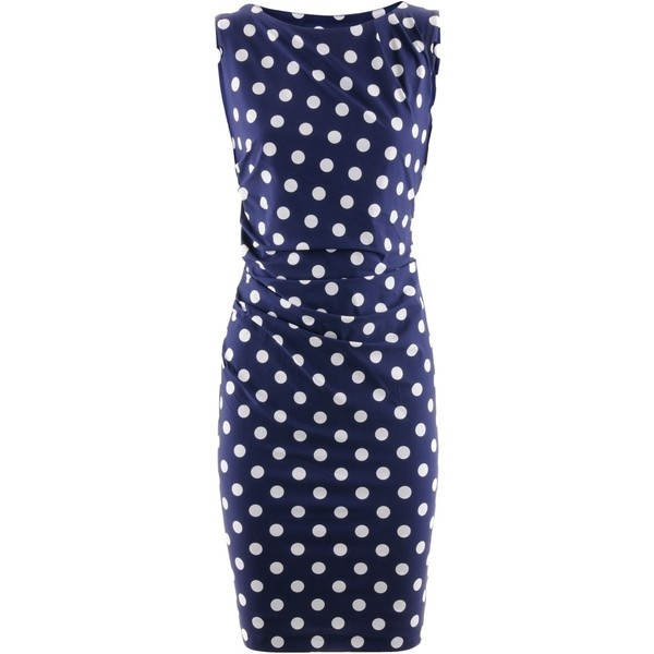 Kimmich Blue Polka Dots Dress Anny ($475) ❤ liked on Polyvore