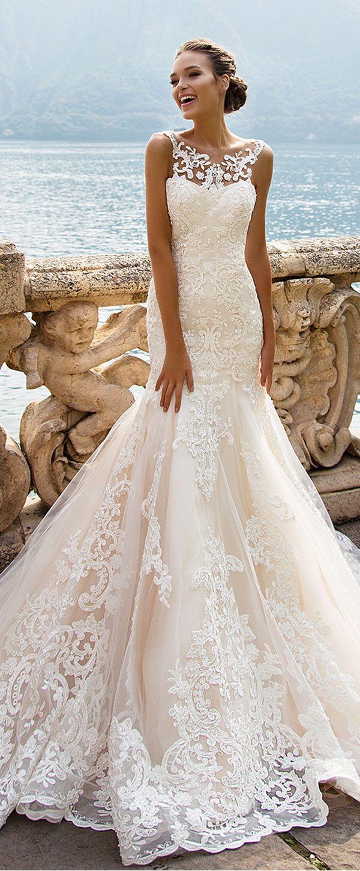 Lace sleeve mermaid wedding dress  Glamorous Tulle Jewel Neckline Natural Waistline Mermaid Wedding