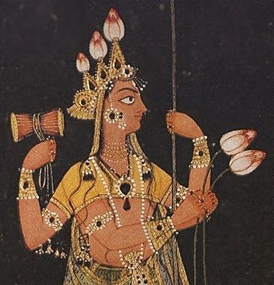 The goddess Durga on a throne. Fragment